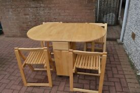 Gateleg Table C/W 4 Chairs 1380mm open 860mm wide 760mm high 370mm when folded