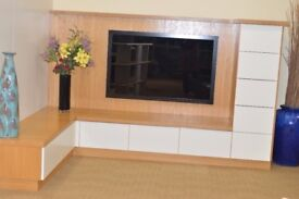 T.V. Display Unit. Solid Oak With White Sprayed Finish. Ex Display Furniture