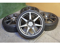 """Genuine Inovit Redline 18"""" Alloy wheels 5x114.3 Civic Mr2 Honda Toyota Nissan Mazda Alloys JDM"""