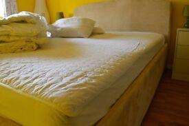 Queen size Bed, Mattress, Mattress Protector, Duvet and Pillows