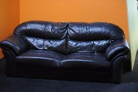 Black 2 seater leather sofa - Must be picked up by Wednesday 8th February
