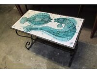 Vintage Garden/Conservatory Tiled Top Wrought Iron Table