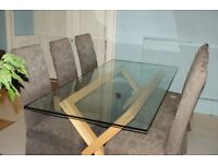 HABITAT oak and glass DUBLIN Dining Table - used but in very good condition £175