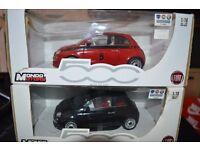 1:18 Mondo Motors Fiat 500 1x Red + 1x Black