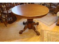 Oak Pedestal, Extendable Table and Chairs