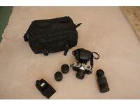 Fujica stx i 35mm SLR camera and different lens