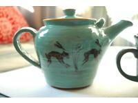 GREEN TEAPOT & MUGS SET FOR 2. British made art studio pottery. Hare motif