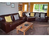 Dark brown leather corner suite
