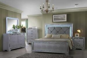 6 PC SILVER COLOR BEDROOM SET  W/  LED HEADBOARD & MIRROR LIGHTS   $1898