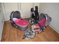 Icandy peach pushchair and carrycot in Berry Bon Bon - limited edition stroller travel system
