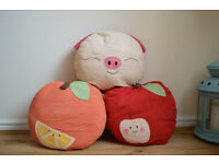 Children's cushions / pillows: Apple Pig Orange. Approx 35cm wide. £5 each or £10 for all three.
