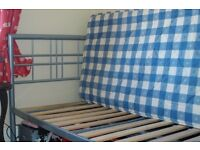 Single Bed. Attractive Metal Frame with Mattress. Both in Great Condition