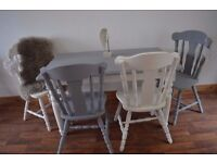 Shabby Chic Solid Pine Dining Table & 4 Solid Wood Chairs White & Grey