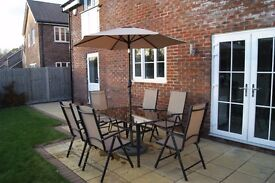 Patio - Glass Table for 6 + Parasol + Foldable Chairs