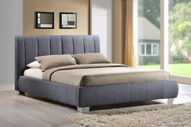 Time Living Braunston Fabric Bed Frame in Grey 4ft 6 double COLLECTION ONLY NG5 RRP £320