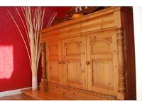 Ornate Waxed Pine Sideboard