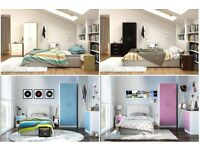 3 PC Trio Bedroom Set . Wardrobe Chest Of Drawers Bedside Cabinet in white/black/pink/blue gloss