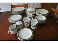 Royal Porcelain Dinner/Coffee Set-Unused-WjiteWith Green &Gold Band-Collect Only