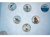 SET OF 12 FUNNY FISHING PLATES ( £200 for the lot and open to offers )