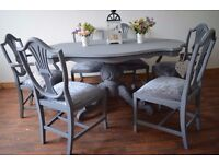 Shabby Chic Solid Wood Italian Style Dining Table with 6 Edwardian Chairs (2 arm chairs)