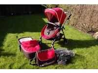 Silver cross wayfarer pushchair, carry cot, rain cover and changing bag