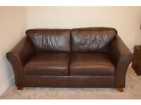 Marks and Spencer Brown Leather Abbey Sofa and Loveseat