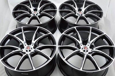 """4 New DDR xf3 17x7.5 5x114.3 38mm Black Machined 17"""" Wheels Rims"""