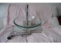 Wall Mounted Clear Glass Basin Bowl Sink + Shelf + Towel Rail + Taps + Trap bathroom designer
