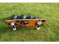 BRAND NEW SKATEBOARD with secondhand knee & elbow protectors