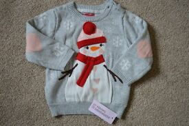 BRAND NEW Christmas Jumper - Age 9 - 12 months, Grey with Snowman design