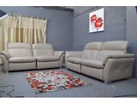 EX DISPLAY (F-Village)MUSTANG PAIR OF 3 SEATER ELECTRIC RECLINER REAL LEATHER