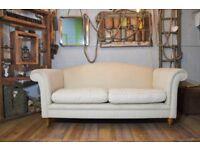 Laura Ashley Gloucester Fabric Sofa Couch Cream on Castor Legs