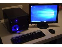 6 Core SSD 4GB RAM Windows 10 Desktop Cube PC with Flat screen TFT Keyboard and mouse Bargain £100