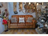 Chesterfield Vintage Leather 3 Seater Sofa Couch Tan