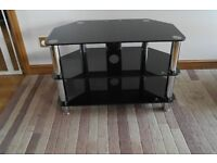 TV stand: black and silver (glass)