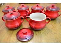 Set of six Le Creuset soup bowls with lids (red)