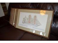 6 x Vintage Framed Sailing ship lithographic prints C. Plath company