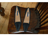 Ralph Lauren black suede court style slip on shoe with white stitching & leather sole size 6