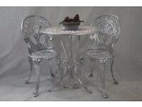 Bistro Garden Set Table with 2 Chairs Aluminium Silver