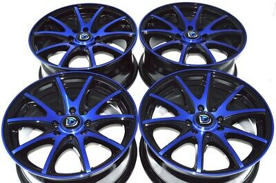 "4 New DDR ST15 15x6.5 4x100/114.3 40mm Black/Polished Blue 15"" Wheels Rims"