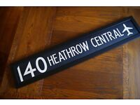 "Vintage original linen ""Heathrow' sign - professionally framed - unique Xmas present!"