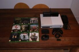Xbox One 500GB Ltd Edition White Console, Kinect+ Accessories, Controller+Charger, and 9 Games