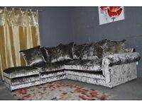 Very/Littlewoods Scarpa 3 &2 Seater OR CORNER Sofas Silver Crushed Velvet RRP£1200