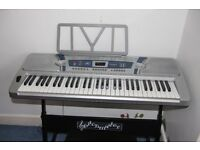 Pitchmaster 61 Key Silver Electronic Music Piano Keyboard with Stand and stool seat