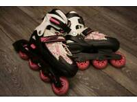 Roller blades and protection pack
