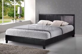 LOW FRAME LEATHER BED WITH MEMORY RANGE MATTRESS (DELIVERY AVAILABLE)