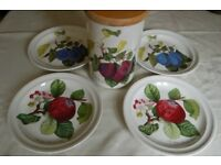 Portmeirion 'Pomona' Plates, Large Cups, & Storage Jar, 1982 by Sarah Williams, Mostly As New