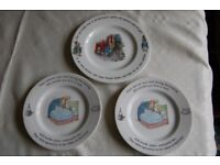 Wedgwood Peter Rabbit Plates in Very Good Condition, One Large, Three Small.