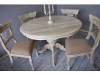 Shabby Chic Rustic Round French Style Dining Table & 4 Wooden Rustic Chairs
