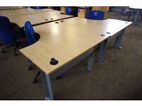 Light oak effect 2-person Desk cluster comprising 2 desks 1400mm x 1200mm and 2 upholstered mobile